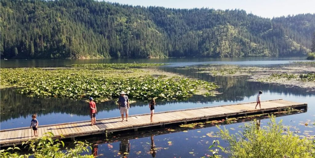 Family on Fernan Lake Dock in Idaho